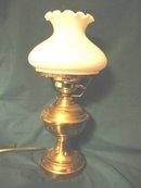 Vintage Brass Table Lamp w/Milk Glass Globe