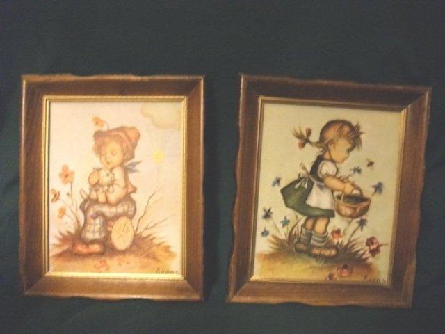 Vintage Framed Pair of Hummel Figurine Pictures