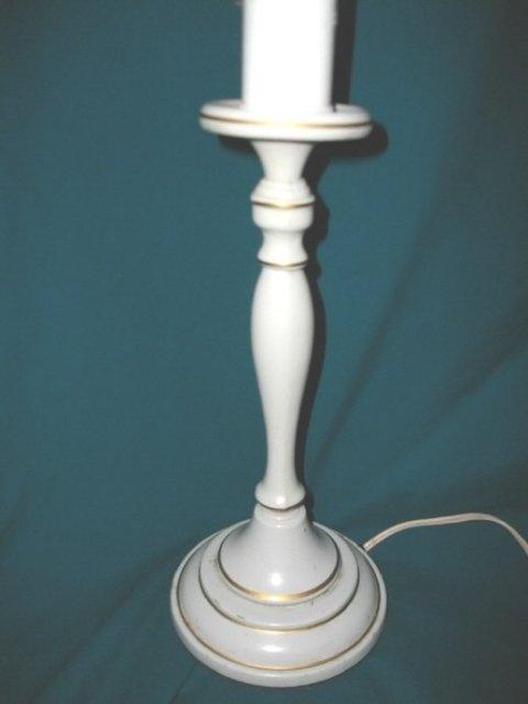 Vintage Metal Enamelware Candlestick Lamp