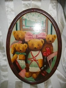 Vintage Teddy Bear Folk Art Painting