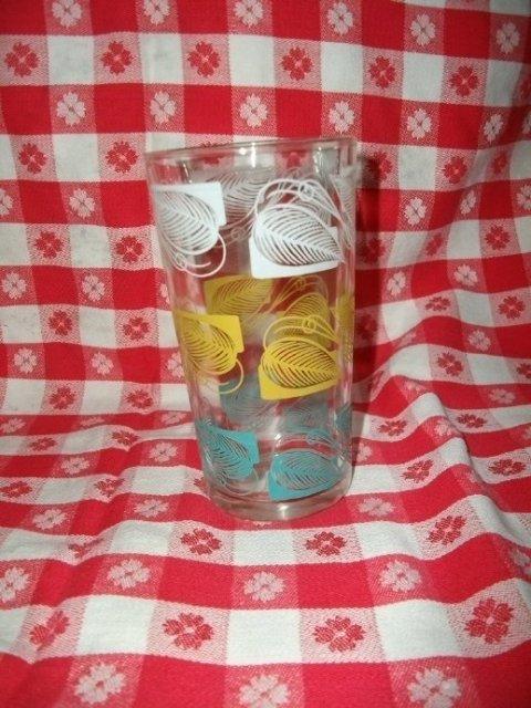 Vintage Tumblers Set w/Embossed Leaves  Vintage Drinking Glasses