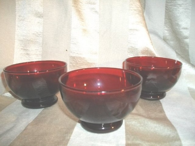 Vintage Ruby Red Glass Footed Bowl Set (8)