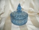 Vintage Blue Glass Candy Dish w/Cover