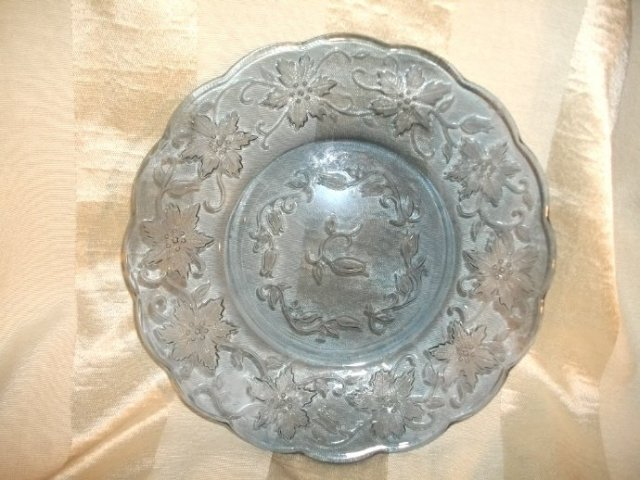 Vintage Blue Glass Poinsetta Plate