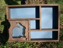 Wooden Display Shelf  w/Wire Covered Rabbit