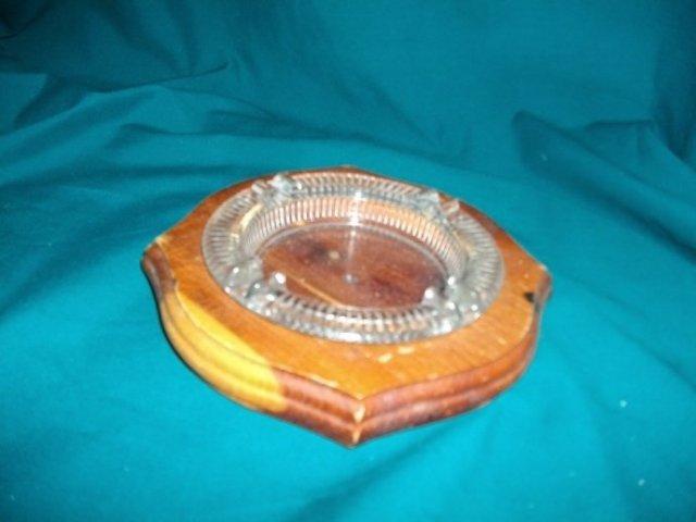 Vintage Glass Ashtray w/ Cedar Holder