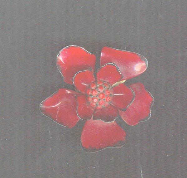 Vintage Red Enamel Flower Pin