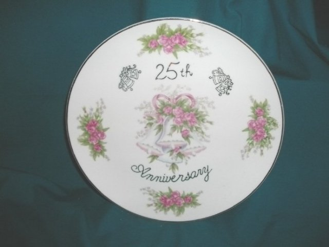 Vintage 25th Wedding Anniversary Plate