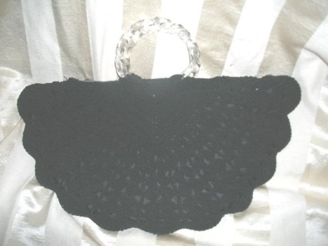 Vintage Hand Crocheted Cord Handbag