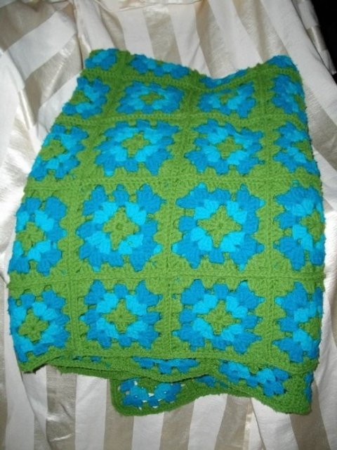 Vintage Hand Crocheted Granny Square Afghan