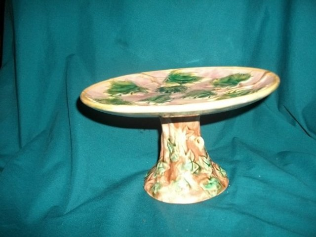 Antique Etruscan Majolica Cake Stand on Pedestal  **LOOK**