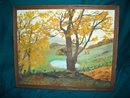 Vintage Folk Art Original Country Scene Painting