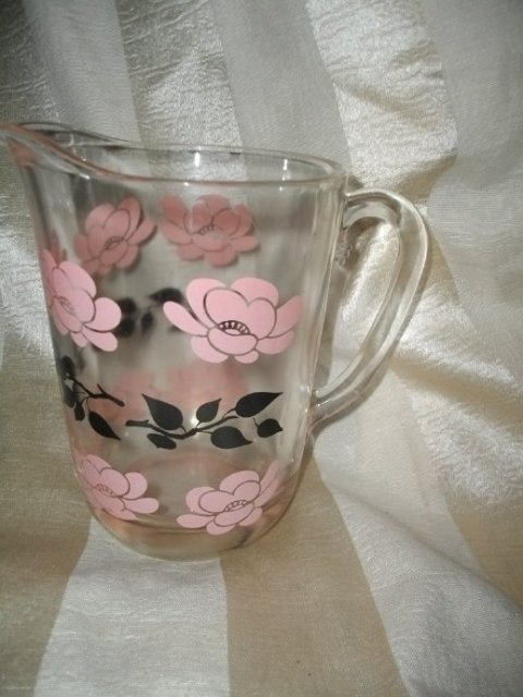 Vintage Retro Pink & Black Glass Pitcher