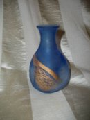 Blue Frosted Glass Pinch Vase  **Signed