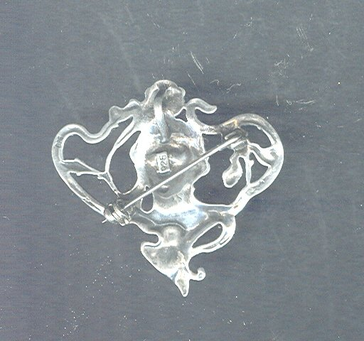 Vintage Sterling Silver Art Nouveau Pin / Pendant