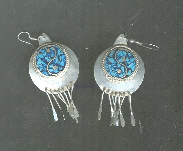 Vintage Silver & Turquoise Drop Earrings