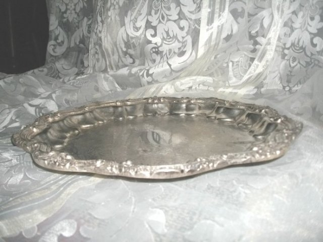 Vintage Ornate Silver Serving Tray