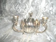 Vintage  Silverplate  Dish w/Attached Candleholders