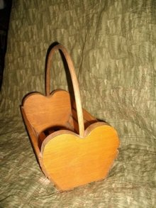 Vintage Wooden Heart Basket