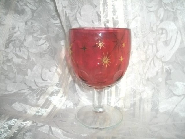 Vintage Cranberry Glass Pedestal Goblet