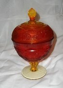 Vintage Amberina Glass Pedestal Dish w/Cover