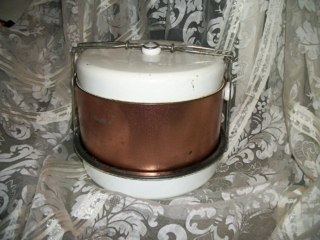 Vintage  Copper Metal Cake & Pie Carrier