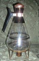 Vintage Glass Coffee Carafe & Copper Burner