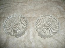Vintage Pair of Glass Shell Snack Plates