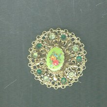 Vintage Green & Goldtone Brooch