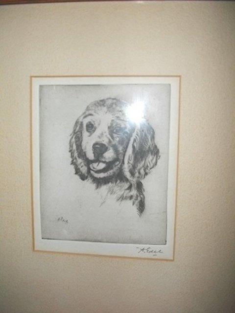 Vintage Albert Edel Puppy Dog  Etching  **Signed**