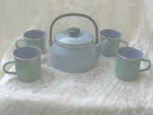 Blue Enamelware Teapot w/4 Mugs