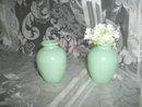 Vintage Pair  Small  Glass Jadite Style Vases