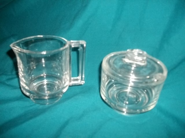 Vintage Italian Glass Cream & Sugar Set