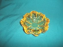 Vintage Yellow Glass Ashtray