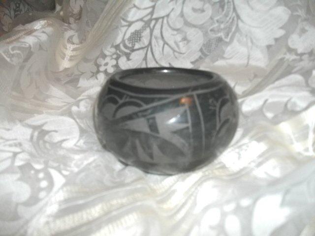 Vintage Ildefonso Pueblo Black Pottery Bowl