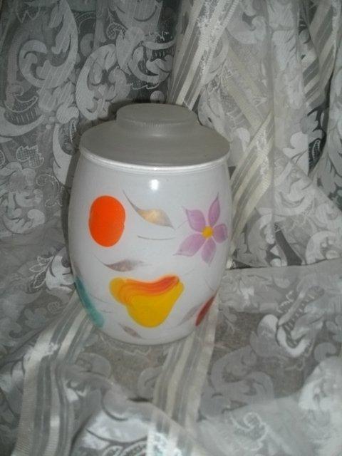 Vintage Glass &  Handpainted Cookie Jar