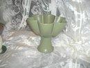 Vintage Sage Green Pottery Pedestal Bowl