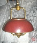 Vintage Brass & Red Metal Light Fixture
