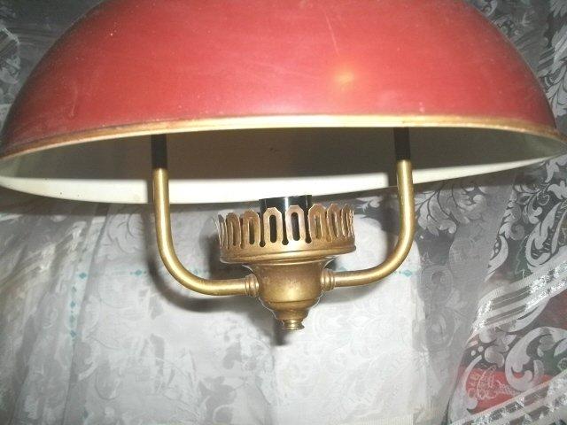 Vintage Brass & Red Metal Light Fixture