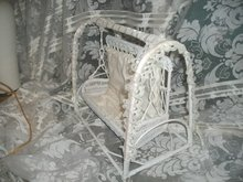White Wicker Doll Swing