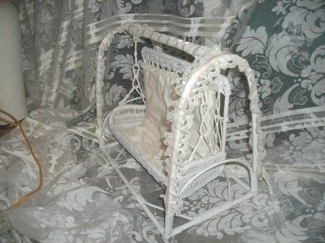 White Wicker Doll Swing