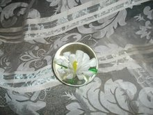 Vintage White Flower Glass Paperweight
