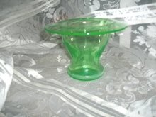Vintage Green Vaseline Glass Vase