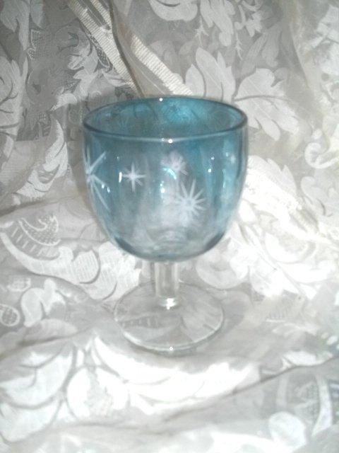 Vintage Blue Glass Pedestal Goblet