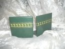 Vintage Green Leather Book Ends