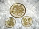 Vintage Enamel & Brass Plate Set  ** Made in England