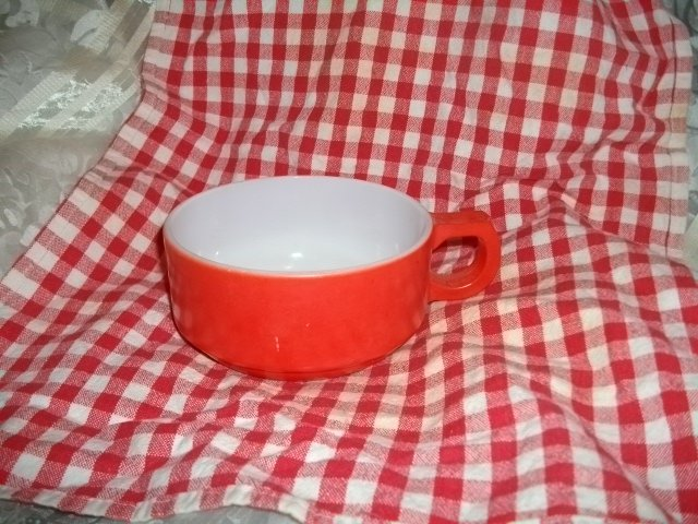 Vintage Fire King Fired on Red Stacking Bowl