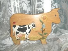 Hand Painted Wooden Jersey Cow Decoration