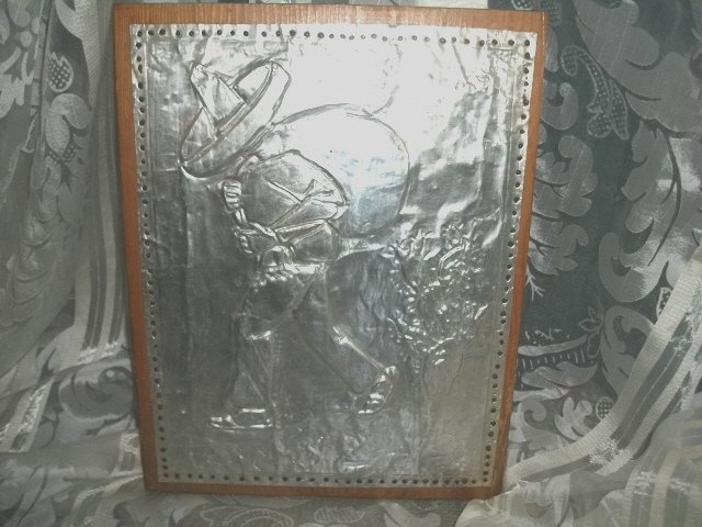 Pressed Metal Picture on Wood