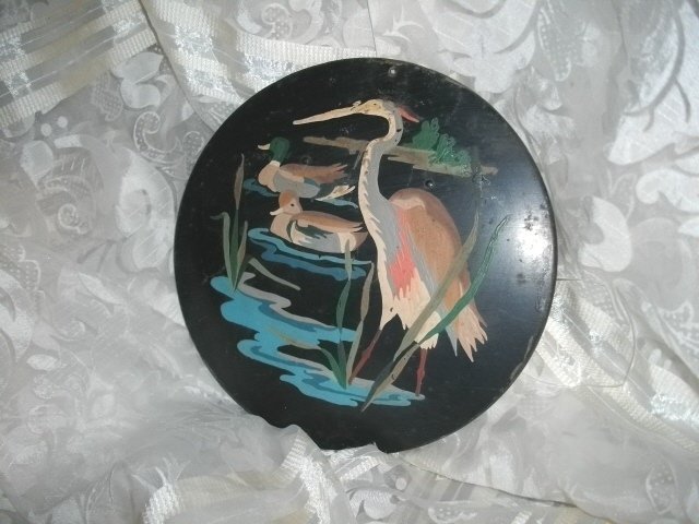 Metal Wall Pocket w/Painted Egret